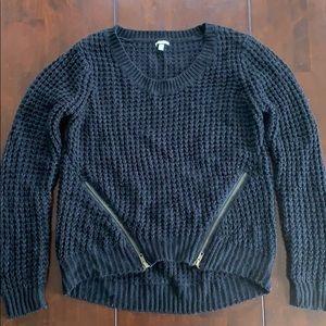 Charlotte Russe Small Black sweater. Zipper decor